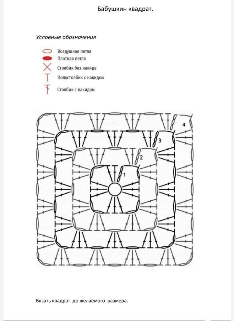 "foto babushkin kv 745x1024 - Схема вязания ""Бабушкиного квадрата"""